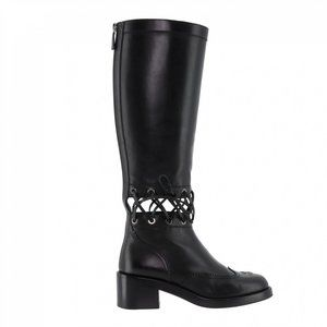 NEW Chanel Calfskin Lace Up Black Knee Boots Sz 8